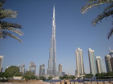 Pohled na nejvyšší budovu světa Burj Khalifa v Dubaji